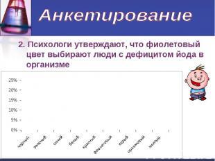 Анкетирование 2. Психологи утверждают, что фиолетовый цвет выбирают люди с дефиц