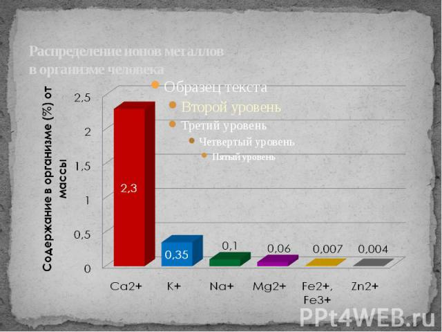 Распределение ионов металлов в организме человека