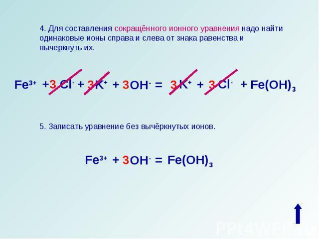 4. Для составления сокращённого ионного уравнения надо найти одинаковые ионы справа и слева от знака равенства и вычеркнуть их.5. Записать уравнение без вычёркнутых ионов.