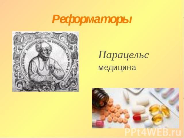 Реформаторы Парацельсмедицина