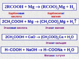 Карбоновая кислотаКарбоксилат магнияЭтановая кислотаЭтанат магнияЭтанат кальцияМ