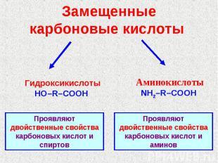 Замещенные карбоновые кислоты ГидроксикислотыHO–R–COOH АминокислотыNH2–R–COOH Пр
