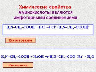 Химические свойства Аминокислоты являются амфотерными соединениямиКак основаниеК