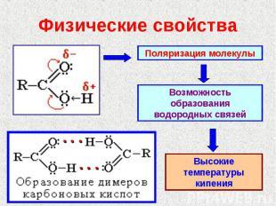 Физические свойства Поляризация молекулыВозможность образования водородных связе