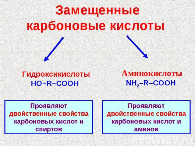 Замещенные карбоновые кислоты ГидроксикислотыHO–R–COOH АминокислотыNH2–R–COOH Проявляют двойственные свойства карбоновых кислот и спиртовПроявляют двойственные свойства карбоновых кислот и аминов