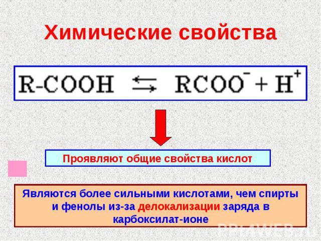 Химические свойства Проявляют общие свойства кислотЯвляются более сильными кислотами, чем спирты и фенолы из-за делокализации заряда в карбоксилат-ионе