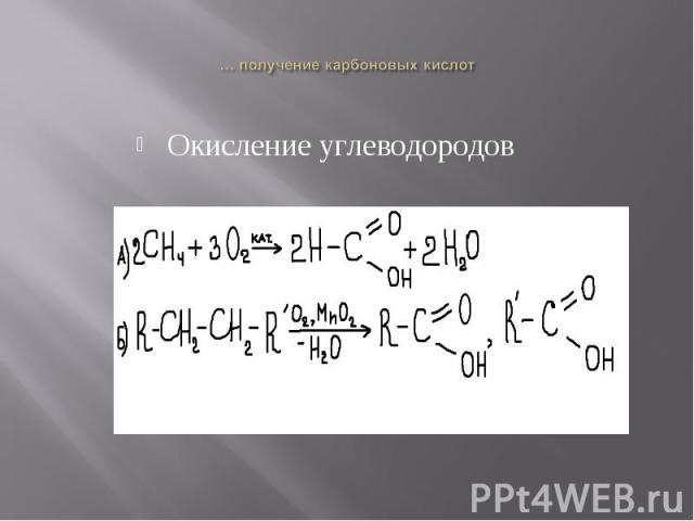 Окисление углеводородовОкисление углеводородов