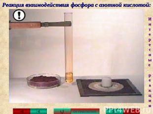 Реакция взаимодействия фосфора с азотной кислотой:
