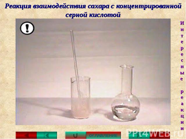 Реакция взаимодействия сахара с концентрированной серной кислотой