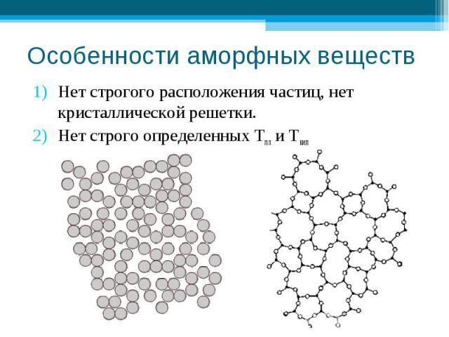 Особенности аморфных веществ Нет строгого расположения частиц, нет кристаллической решетки.Нет строго определенных Тпл и Ткип