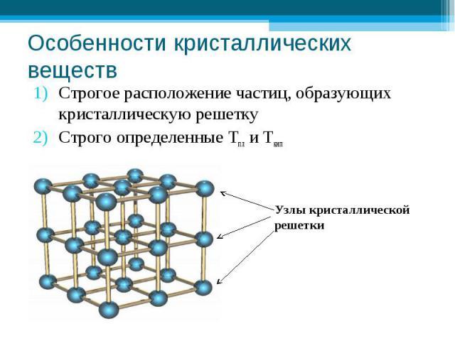 Особенности кристаллических веществ Строгое расположение частиц, образующих кристаллическую решетку Строго определенные Тпл и ТкипУзлы кристаллическойрешетки