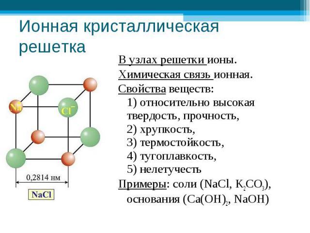 Ионная кристаллическая решетка В узлах решетки ионы.Химическая связь ионная.Свойства веществ: 1) относительно высокая твердость, прочность, 2) хрупкость, 3) термостойкость, 4) тугоплавкость, 5) нелетучестьПримеры: соли (NaCl, K2CO3), основания (Ca(O…
