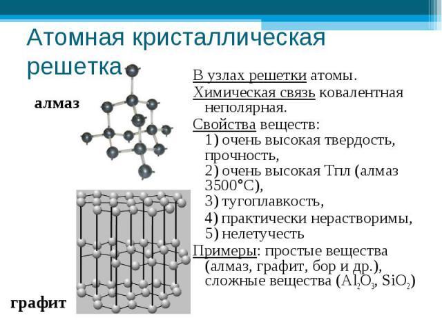 Атомная кристаллическая решетка В узлах решетки атомы.Химическая связь ковалентная неполярная.Свойства веществ: 1) очень высокая твердость, прочность, 2) очень высокая Тпл (алмаз 3500°С),3) тугоплавкость, 4) практически нерастворимы, 5) нелетучестьП…