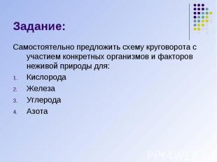 Задание: Самостоятельно предложить схему круговорота с участием конкретных орган