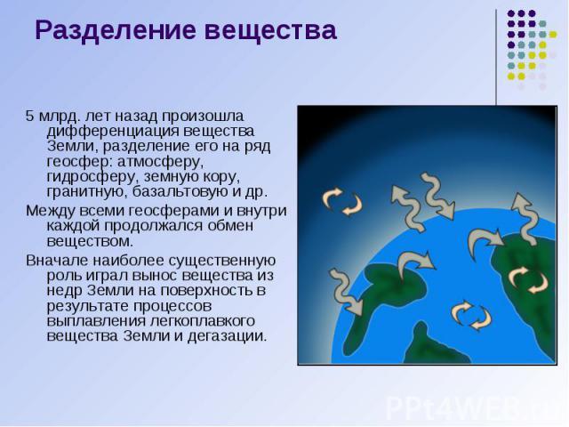 Разделение вещества 5 млрд. лет назад произошла дифференциация вещества Земли, разделение его на ряд геосфер: атмосферу, гидросферу, земную кору, гранитную, базальтовую и др. Между всеми геосферами и внутри каждой продолжался обмен веществом. Вначал…