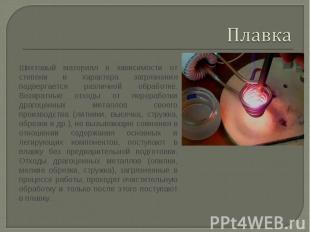 Плавка Шихтовый материал в зависимости от степени и характера загрязнения подвер