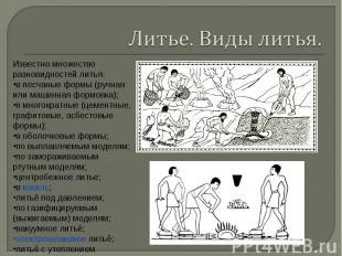 Литье. Виды литья. Известно множество разновидностей литья:в песчаные формы (руч