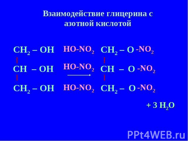 Взаимодействие глицерина с азотной кислотой