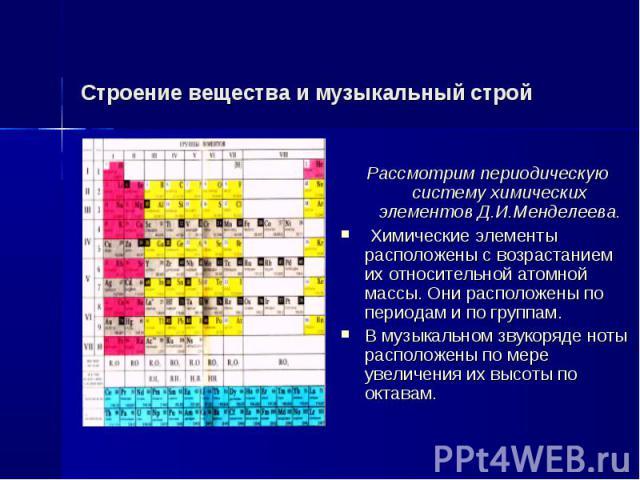 Строение вещества и музыкальный строй Рассмотрим периодическую систему химических элементов Д.И.Менделеева. Химические элементы расположены с возрастанием их относительной атомной массы. Они расположены по периодам и по группам.В музыкальном звукоря…