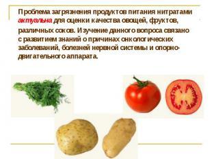 Проблема загрязнения продуктов питания нитратами актуальна для оценки качества о