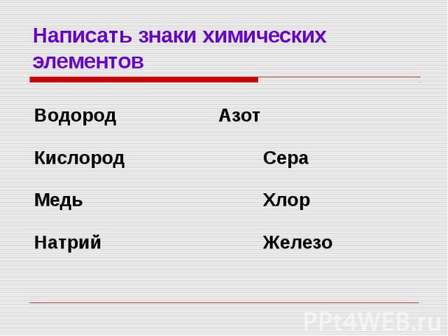 Написать знаки химических элементов Водород АзотКислород СераМедь ХлорНатрий Железо