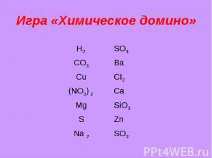 Игра «Химическое домино»