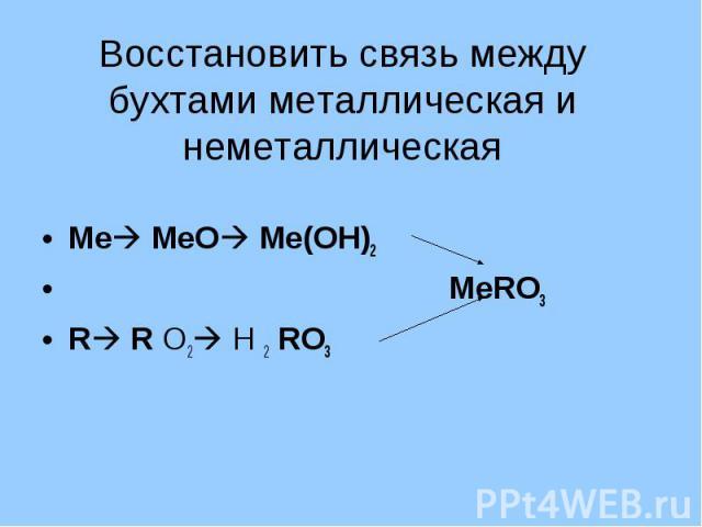 Восстановить связь между бухтами металлическая и неметаллическая