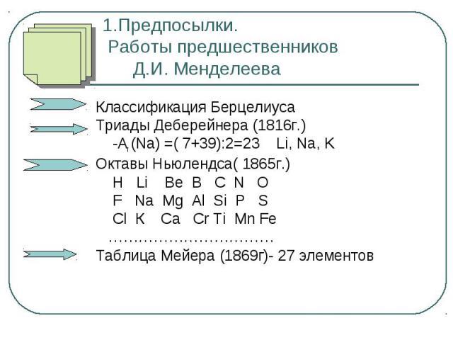 1.Предпосылки. Работы предшественников Д.И. Менделеева Классификация Берцелиуса Триады Деберейнера (1816г.) -Аr (Na) =( 7+39):2=23 Li, Na, K Октавы Ньюлендса( 1865г.) H Li Be B C N O F Na Mg Al Si P S Cl К Са Сr Ti Mn Fe …………………………… Таблица Мейера (…
