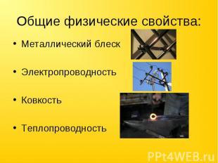 Общие физические свойства: Металлический блескЭлектропроводностьКовкостьТеплопро