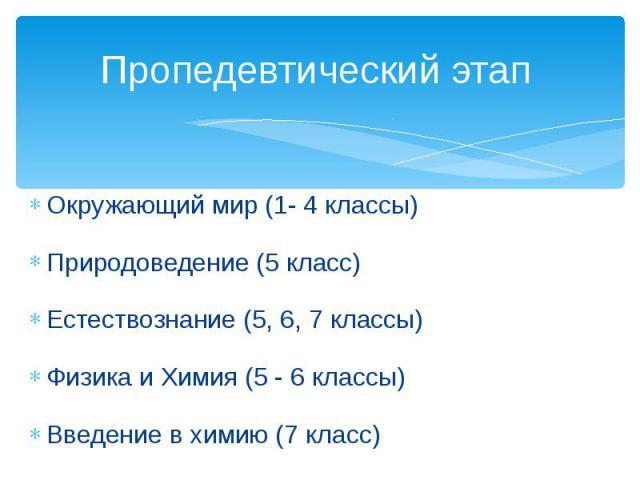 Пропедевтический этап Окружающий мир (1- 4 классы)Природоведение (5 класс)Естествознание (5, 6, 7 классы)Физика и Химия (5 - 6 классы)Введение в химию (7 класс)