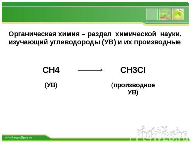Органическая химия – раздел химической науки, изучающий углеводороды (УВ) и их производные