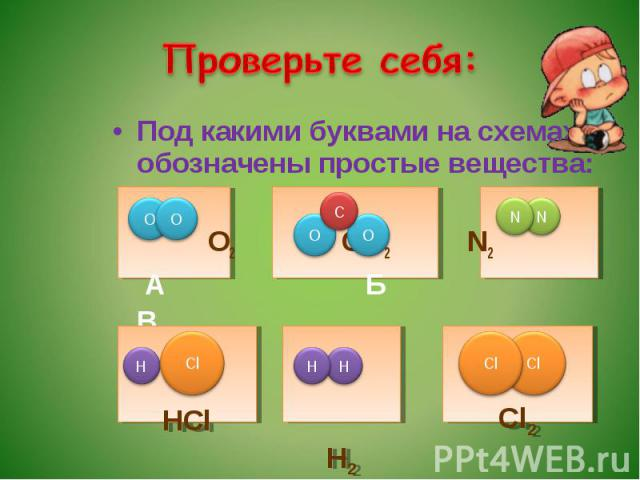 Проверьте себя: Под какими буквами на схемах обозначены простые вещества: О2 СО2 N2 А Б В Г Д Е