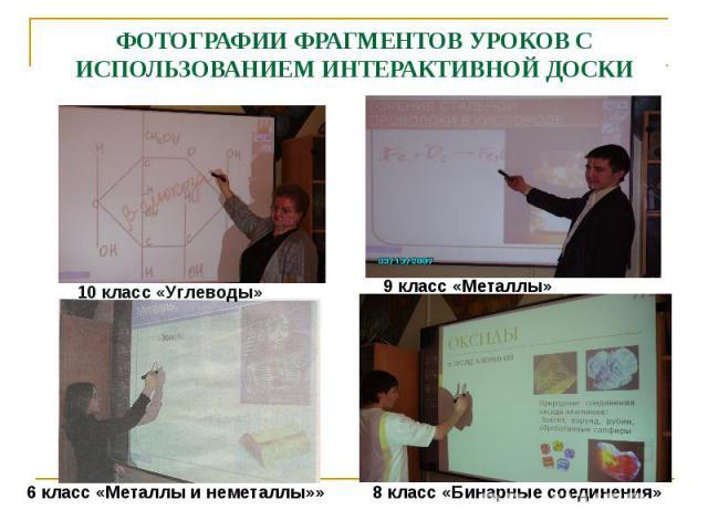 ФОТОГРАФИИ ФРАГМЕНТОВ УРОКОВ С ИСПОЛЬЗОВАНИЕМ ИНТЕРАКТИВНОЙ ДОСКИ