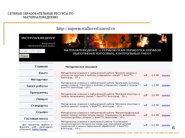 СЕТЕВЫЕ ОБРАЗОВАТЕЛЬНЫЕ РЕСУРСЫ ПО МАТЕРИАЛОВЕДЕНИЮ http://supermetalloved.narod.ru