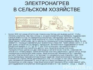 ЭЛЕКТРОНАГРЕВВ СЕЛЬСКОМ ХОЗЯЙСТВЕ Более 3000 лет назад в Египте уже строили инку