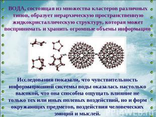 ВОДА, состоящая из множества кластеров различных типов, образует иерархическую п