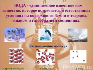 ВОДА - единственное известное нам вещество, которое встречается в естественных у