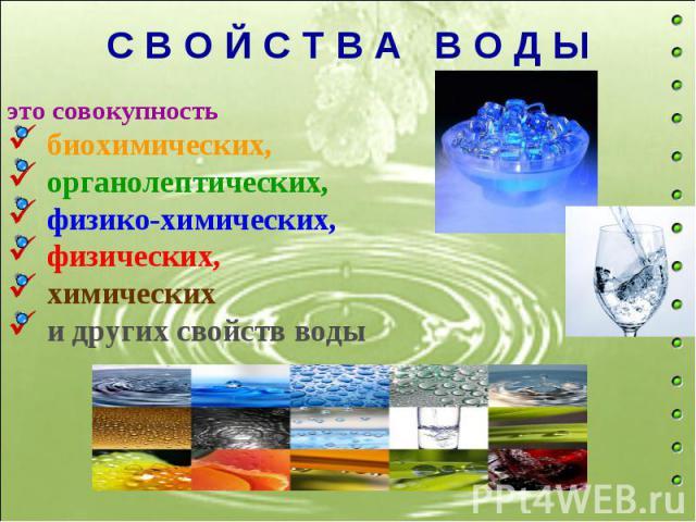 С В О Й С Т В А В О Д Ы это совокупность биохимических, органолептических, физико-химических, физических, химических и других свойств воды