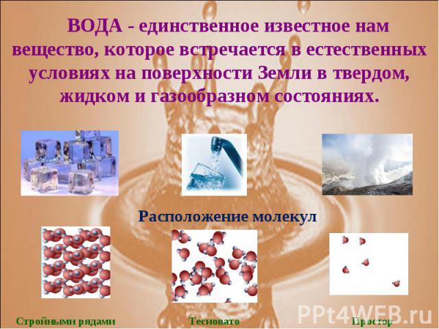 ВОДА - единственное известное нам вещество, которое встречается в естественных условиях на поверхности Земли в твердом, жидком и газообразном состояниях.