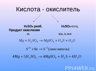 Кислота - окислитель H2SO4 разб. H2SO4 конц Продукт окисления