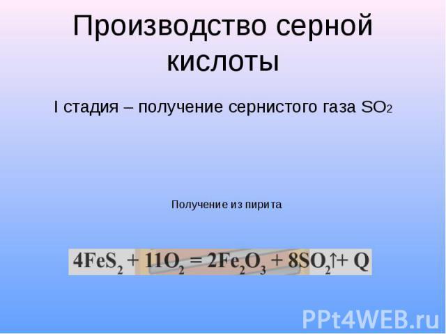 Производство серной кислоты I стадия – получение сернистого газа SO2
