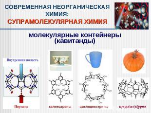 СОВРЕМЕННАЯ НЕОРГАНИЧЕСКАЯ ХИМИЯ:СУПРАМОЛЕКУЛЯРНАЯ ХИМИЯмолекулярные контейнеры(
