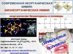 СОВРЕМЕННАЯ НЕОРГАНИЧЕСКАЯ ХИМИЯ:БИОНЕОРГАНИЧЕСКАЯ ХИМИЯнеорганические биоматери