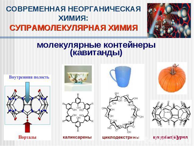СОВРЕМЕННАЯ НЕОРГАНИЧЕСКАЯ ХИМИЯ:СУПРАМОЛЕКУЛЯРНАЯ ХИМИЯмолекулярные контейнеры(кавитанды)