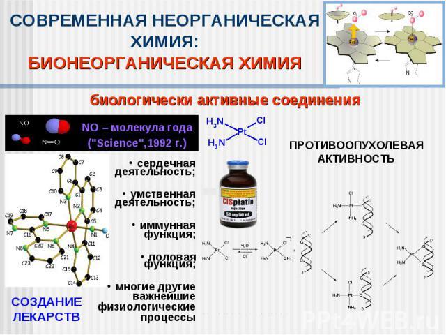 СОВРЕМЕННАЯ НЕОРГАНИЧЕСКАЯ ХИМИЯ:БИОНЕОРГАНИЧЕСКАЯ ХИМИЯбиологически активные соединения