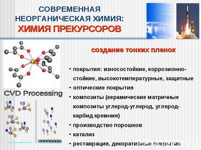 СОВРЕМЕННАЯ НЕОРГАНИЧЕСКАЯ ХИМИЯ:ХИМИЯ ПРЕКУРСОРОВсоздание тонких пленокпокрытия: износостойкие, коррозионно-стойкие, высокотемпературные, защитныеоптические покрытиякомпозиты (керамические матричные композиты углерод-углерод, углерод-карбид кремния…