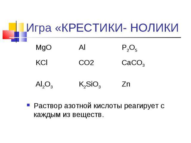 Игра «КРЕСТИКИ- НОЛИКИ Раствор азотной кислоты реагирует с каждым из веществ.