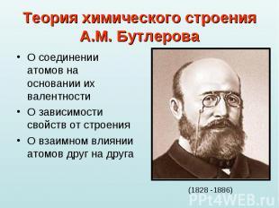 Теория химического строенияА.М. Бутлерова О соединении атомов на основании их ва