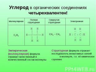 Углерод в органических соединениях четырехвалентен! Эмпирическая (молекулярная)