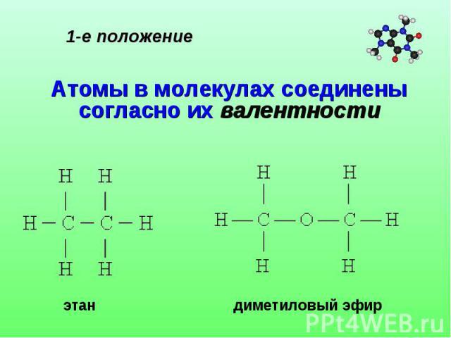 1-е положение Атомы в молекулах соединены согласно их валентности